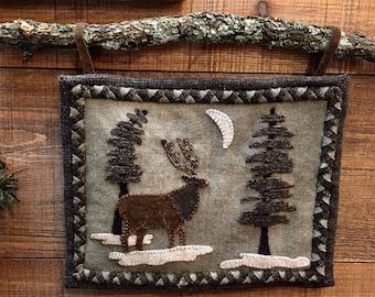 Cricket Street Wool - Applique Pattern - Woodland Elk