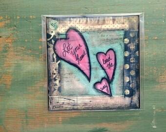 "SALE! Heart Print, 5""x5"" Heart Art, Inspirational Art Print, Whimsical Heart, Mixed Media Print, Sale Print, Clearance print, Leading Heart"