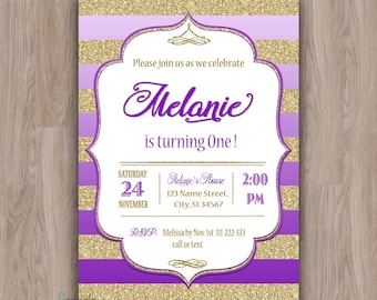 Purple and gold birthday invitation, purple and gold invitations, 1st birthday invitation, first birthday invitation purple, girl invites