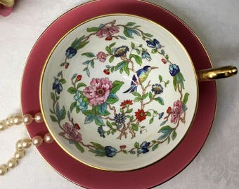 "Aynsley Athens style ""Pembroke"" teacup and saucer."