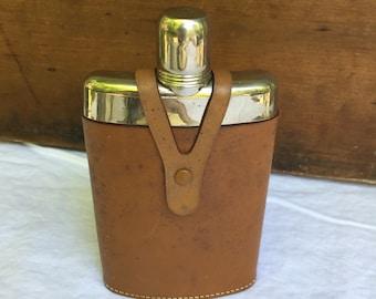 Vintage Leather Glass Silver Flask Germany U.S. Zone