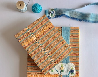 Hand-made notebooks, two notebooks, embroidered notebook, craft notebooks, textile art, embroidery, indigenous loom. Bohemian artistic gift