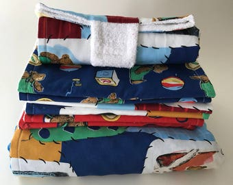 Corduroy Nap Blanket, Set of 6 Burp Cloths, and a Portable Diaper changer