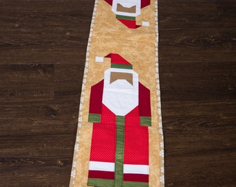 Black Santa Quilted Table Runner