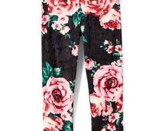 Black Floral Velvet Leggings