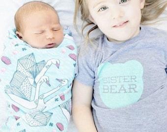 Sister Bear TriBlend Heather Grey TShirt with Aqua Blue Print - Big Sister, Little Sister, Baby Announcment, Family Photos