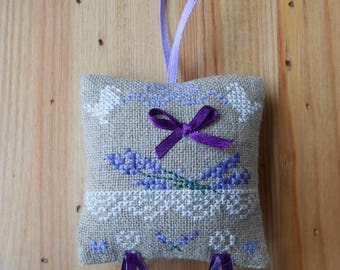 Lavender Embroidered Pillow, lace and Purple Ribbon