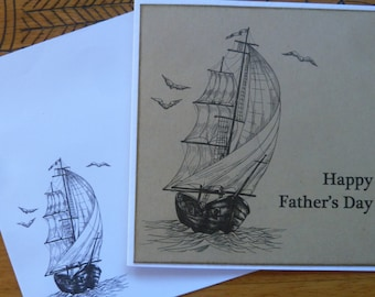 HANDMADE Greeting Card - Sailing Father's Day Card 12x12