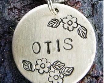 Pet Tag ID, Dog Tag, Custom Pet Tag, Flowers Hand Stamped Pet ID Tag, BRASS Floral Otis