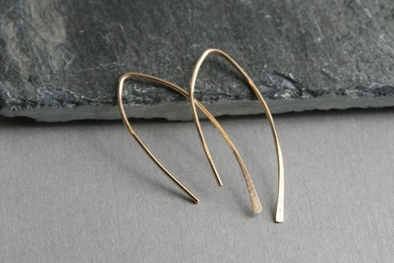 Medium Leaflet 14K Gold Filled Earrings- Yellow or Rose Gold