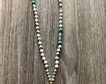 Howlite with Amazonite 108 knotted Mala