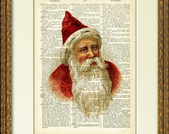 Dictionary Page Print - OLD SAINT NICK - 1800's dictionary page with a vintage Santa Claus illustration - charming Christmas wall decor