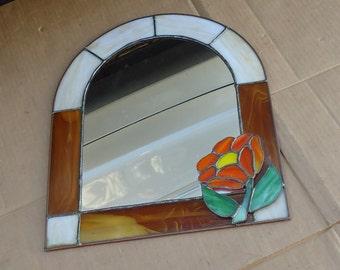 vintage leaded glass arched panel mirror flower decor stain glass,suncatcher window display mirror