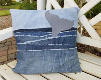 """Upcycled Denim throw pillow cover, whale tail in water, 16"""" square with free shipping"""