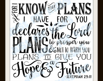 Jeremiah 29 11 SVG Cut File | DXF, PNG