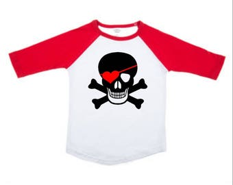 Valentine Pirate Toddler Raglan, Customizable