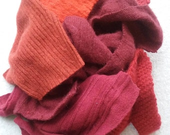 Cashmere Recycled Remnants Cable Knit - Bright Red to Reddish Orange - for DIY Crafts and Projects - 16 oz. Bundle