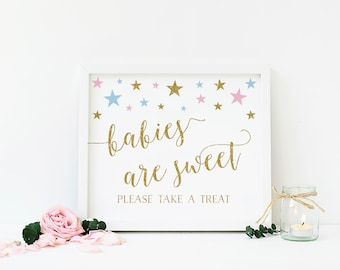 Babies are Sweet Please Take a Treat, Gender Reveal Party, Treats Sign, Dessert Table Sign, Pink Blue and Gold Baby Shower, Printable- SG6
