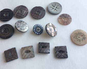 14 Nicely Carved Antique Abalone Buttons