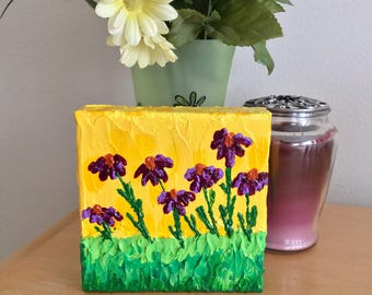 Purple Flower Painting - Textured  Painting - Flower Painting - Palette Knife Painting - Mini Canvas - Shelf Art - Purple Flowers