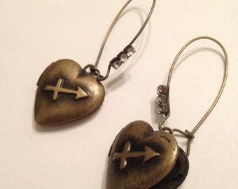 Locket Earrings, Hearts With Arrows, Horoscope, Sagitarius