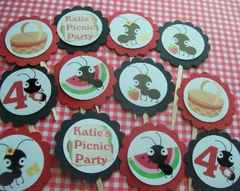 Picnic Ants cupcake toppers set of 12