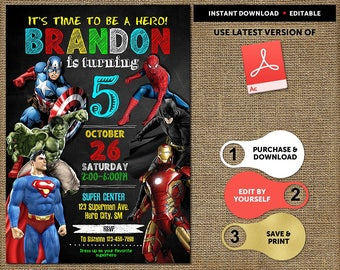 superheroes party invites