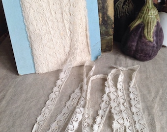 Antique Laces, Vintage Lace Trim Off White Fabric Dolls Bears & Vintage Wedding 4 yd Home Furnishings / Old New Stock!
