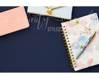 Blue Horizontal Styled Stock Product Photography Background w/Pink Notebook, Journal, Pens, Wallet, Jewelry Holder / High Res File #INF128SS