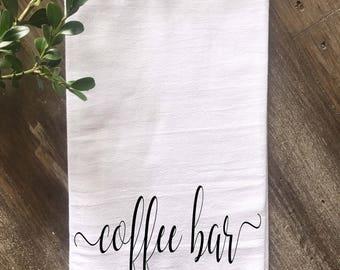 Coffee Bar Farmhouse Flour Sack Towel, Kitchen towel, Coffee Bar Love is Brewing  Decor, Housewarming gift, Wedding gift, Anniversary Gift