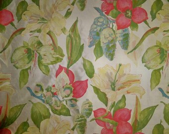 KRAVET LEE JOFA Tropical Lilies Enrica Printed Silk Fabric 9.5 Yards Cream Multi
