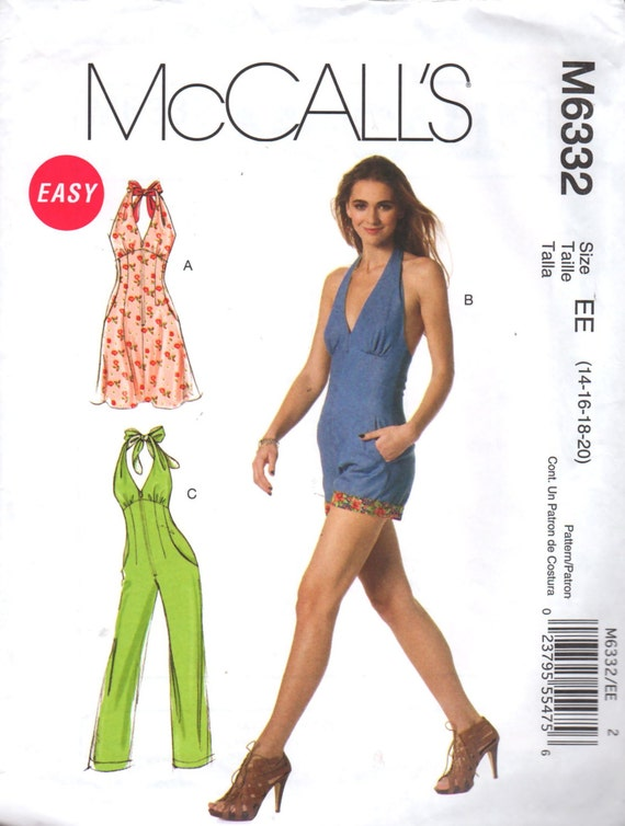 McCalls 6332 Misses Monroe Style Halter Dress Jumpsuit Romper ...
