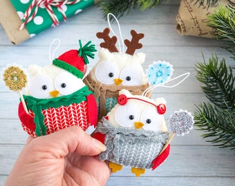 Christmas ornaments Owl gift Christmas favors Office secret santa gift  Funny gift for Christmas tree ornaments Owl decor Santa gift ideas