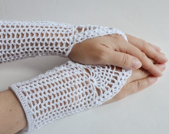 Weddind Crochet Lace Gloves, Fingerless, Hand jewelry