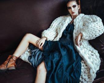 Chunky knit cardigan. Giant knit coat. Chunky knitting. Her oversized sweater. Original woolen cardigan. Big yarn fashionable knitwear.