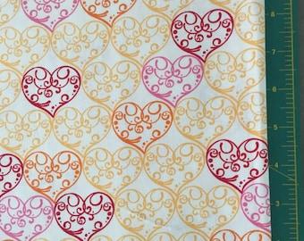 Heart Scrolls Novelty Print Cotton FQ 18X21