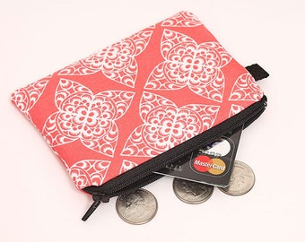Mini Fabric Makeup Bag, Wome's Coin Pouch, Cute Padded Change Purse, Handmade Zip Card Wallet - white lace in red