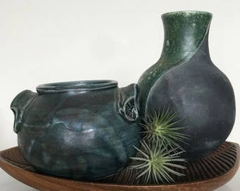Black and Green Boho Ceramic Vase