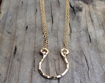 Elegant and Delicate  Horseshoe Gold Necklace By SimaG