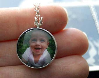 Double-Sided Round Photo Necklace or Photo Pendant in Sterling Silver, Custom Photo Jewelry, Silver Photo Jewelry, Silver Picture Jewelry