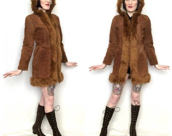 Vintage 1970's Brown Suede Leather and Vegan Shearling Hooded Penny Lane Coat - size Small