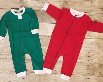 All in One Christmas Pajamas/Toddler Christmas Pajamas/Monogrammed Pajamas/Personalized Pajamas/Embroidered Drop seat Pajamas