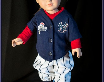 "New York Yankies Base Ball Uniforms - American Girl  or Boy Size Doll Clothes, Outfit for American Girl or American Boy Style 18"" dolls!"