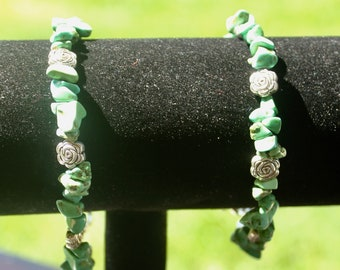 Green Stone Bead Bracelets with Rose Accent Beads