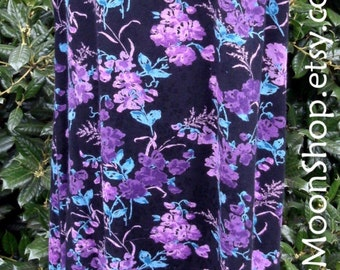 Vintage 90s MIDI DRESS, purple black turquoise floral grunge, SOFT Rayon, Sleeveless, Boho Chic, Hippie Bohemian, Festival, pretty! 14W Plus