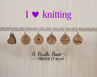 I love knitting Stitch markers set, sock knitter, knitter gift, snag free stitch markers