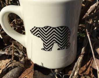 Chevron Grizzly Ceramic Coffee Mug - Grizzly Bear - Polar Bear - Brown Bear - Black Bear - Outdoors - Sturdy Vintage Diner Mug - Handmade