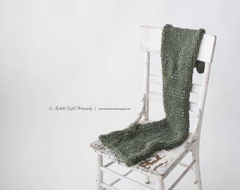 Hand Knit Luxury Baby Wrap in Forest Green, Ready to Ship Item