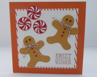 Gingerbreadman Christmas card in Earthtones