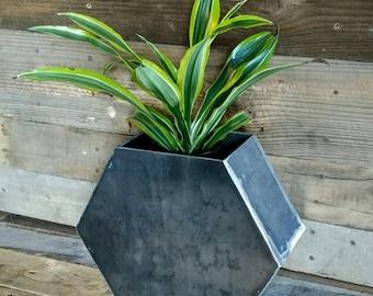 Industrial Steel Flower Pot hexagon